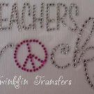 Rhinestone Iron On Transfer TEACHERS ROCK PEACE SIGN