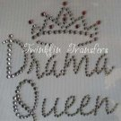 Rhinestone Hot Fix Iron On Transfer DRAMA QUEEN CROWN