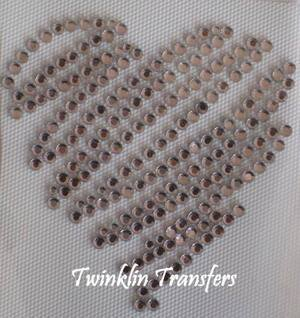 Rhinestone Hot Fix Iron Transfer  PINK HEART VALENTINES
