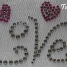 Rhinestone Hot Fix IronOn Transfer VALENTINE LOVE HEART
