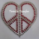 Rhinestone Hot Fix Iron On Transfer  PEACE HEART LOVE
