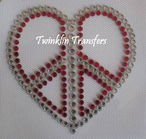Rhinestone Hot Fix Iron On Transfer  PEACE HEART LOVE