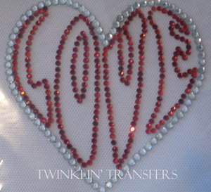 Rhinestone Transfer Hot Fix Iron On HEART LOVE RED