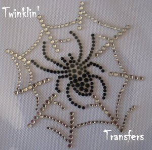 Rhinestone Hot Fix Iron OnTransfer HALLOWEEN SPIDER WEB