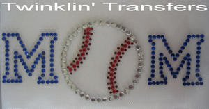Rhinestone Transfer HotFix IronOn BASEBALL SOFTBALL MOM