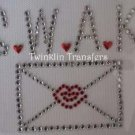 Rhinestone Transfer Iron On KISS LOVE NOTE VALENTINE