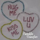 Rhinestone Hot Fix Iron On Transfer CONVERSATION HEART