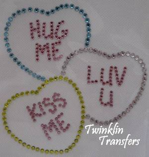 Rhinestone Hot Fix Iron On Transfer CONVERSATION HEART