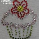 Rhinestone Hot Fix Iron Transfer PINK CUPCAKE FLOWER