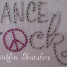 Rhinestone Iron On Transfer DANCE ROCKS PEACE SIGN PINK