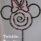 Rhinestone Iron On Transfer MINNIE LOLLIPOP CANDY BOW