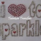Rhinestone Hot Fix IronOn Transfer I (HEART) TO SPARKLE