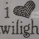 Rhinestone Transfer Iron On I HEART LOVE TWILIGHT