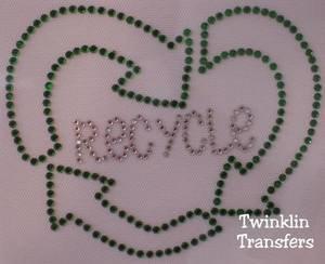 Rhinestone Iron On Transfer GREEN RECYCLE HEART EARTH
