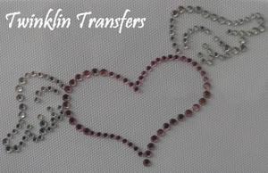 Rhinestone Hot Fix Iron On Transfer WING HEART PINK