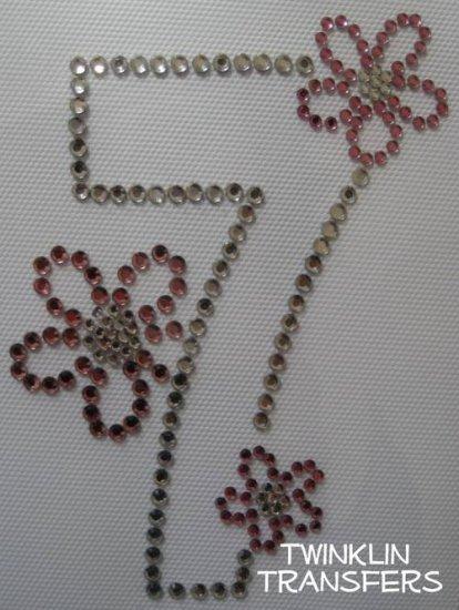 Rhinestone Iron On Transfer BIRTHDAY7 SEVEN 7th FLOWER