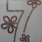 Rhinestone Iron On Transfer BIRTHDAY 7 SEVEN 7th FLOWER