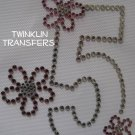 Rhinestone Iron On Transfer BIRTHDAY 5 FIVE 5th FLOWER
