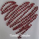 Rhinestone Hot Fix Iron On Transfer RED HEART VALENTINE