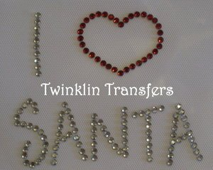 Rhinestone Hot Fix Iron On Transfer I LOVE HEART SANTA