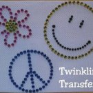 Rhinestone Iron On Transfer HOT RETRO PEACE HAPPY FACE