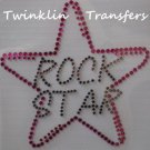 Rhinestone Transfer Iron ROCK STAR HOT PINK PURPLE
