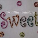 Rhinestone Hot Iron On Transfer SWEET CANDY DOTS PINK