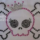 Rhinestone Iron On Transfer EMO SKULL GIRL PINK CROWN