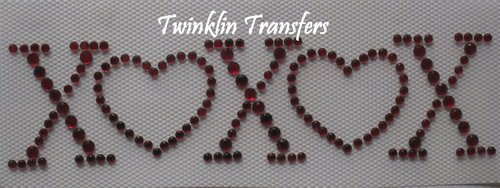 Rhinestone HotFix Iron On Transfer VALENTINE HEART XOXO