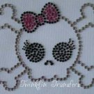 Rhinestone Hot Iron On Transfer EMO SKULL BOW PINK GIRL