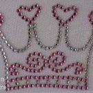 Rhinestone Iron On Transfer PINK HEART CROWN PRINCESS