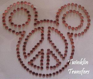 Rhinestone Hot Fix Iron On Transfer PEACE MICKEY PINK