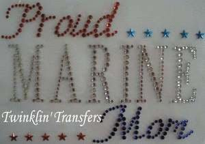 Rhinestone Transfer Hot Fix Iron On MARINE USMC MOM USA