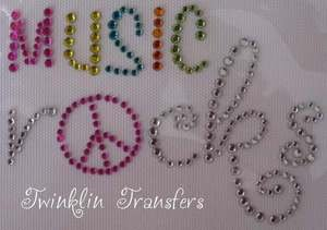 Rhinestone Iron On Transfer MUSIC ROCKS PEACE SIGN PINK
