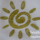 Rhinestone Hot Fix Iron On Transfer Yellow SUN SUMMER