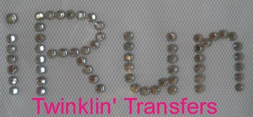 Rhinestone Transfer Hot Fix Iron On I RUN TRACK