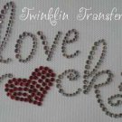 Rhinestone Hot Fix Iron On Transfer LOVE ROCKS HEART