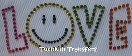 Rhinestone Iron On Transfer SMILE HAPPY FACE LOVE RETRO