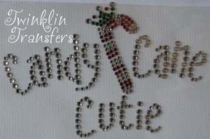 Rhinestone Transfer Iron On CANDY CANE CUTIE CHRISTMAS