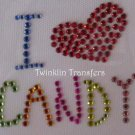 Rhinestone Iron On Transfer I HEART LOVE CANDY PINK RED