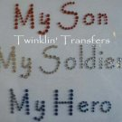 Rhinestone Transfer Iron On ARMY MOM SOLDIER HERO