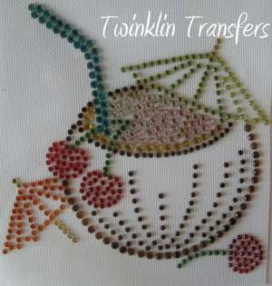 Rhinestone Transfer Iron On TROPICAL COCONUT COCKTAIL