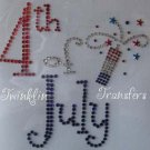 Rhinestone Iron On Transfer 4th of July FIRECRACKER USA