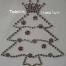 Rhinestone Transfer IronOn PRINCESS CHRISTMAS TREE PINK