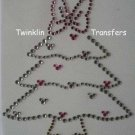Rhinestone Transfer Iron On MINNIE CHRISTMAS TREE BOW
