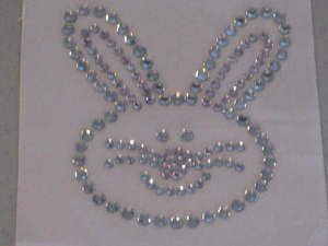 Rhinestone Transfer Hot Fix Iron On PINK EASTER BUNNY