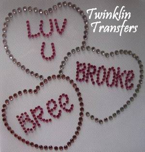 Rhinestone Iron On CUSTOM PERSONALIZED HEART VALENTINE