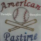 Rhinestone Transfer Iron On AMERICAN BASEBALL BATS BALL