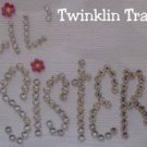 Rhinestone Hot Iron On Transfer LIL SISTER FLOWER PINK