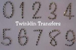 Rhinestone Iron On Transfer NUMBERS 0 1 2 3 4 5 6 7 8 9